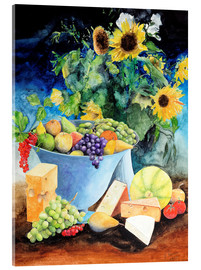 Acrylic glass  Still life with sunflowers, fruits and cheese - Gerhard Kraus