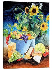 Canvas  Still life with sunflowers, fruits and cheese - Gerhard Kraus