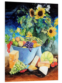 Foam board print  Still life with sunflowers, fruits and cheese - Gerhard Kraus