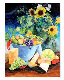 Poster  Still life with sunflowers, fruits and cheese - Gerhard Kraus
