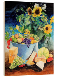 Wood  Still life with sunflowers, fruits and cheese - Gerhard Kraus