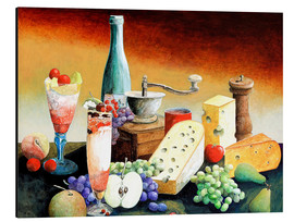 Aluminium print  Stil life with coffee grinder, fruits and cheese - Gerhard Kraus