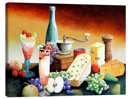 Canvas  Stil life with coffee grinder, fruits and cheese - Gerhard Kraus