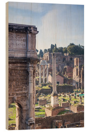 Wood print  Ruins of the ancient roman forum - Matteo Colombo