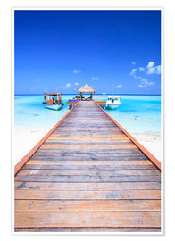 Premium poster  Pier into the ocean, Maldives - Matteo Colombo