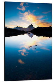 Aluminium print  Bietschorn mountain peak at sunrise reflecting in small lake, Loetschenpass, Wallis, Switzerland 01 - Peter Wey