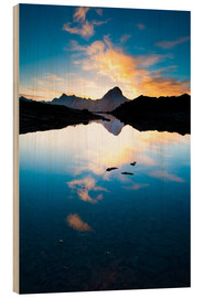 Wood print  Bietschorn mountain peak at sunrise reflecting in small lake, Loetschenpass, Wallis, Switzerland 01 - Peter Wey