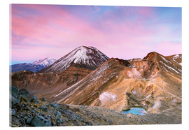 Acrylic print  Awesome sunrise on Mount Ngauruhoe and red crater, Tongariro crossing, New Zealand - Matteo Colombo