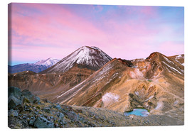 Canvas print  Awesome sunrise on Mount Ngauruhoe and red crater, Tongariro crossing, New Zealand - Matteo Colombo