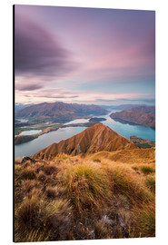 Aluminium print  Awesome sunset over Wanaka lake from Mt Roy, Otago, New Zealand - Matteo Colombo