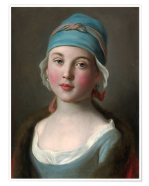 Premium poster  Russian girl in a blue dress and headdress - Pietro Antonio Rotari