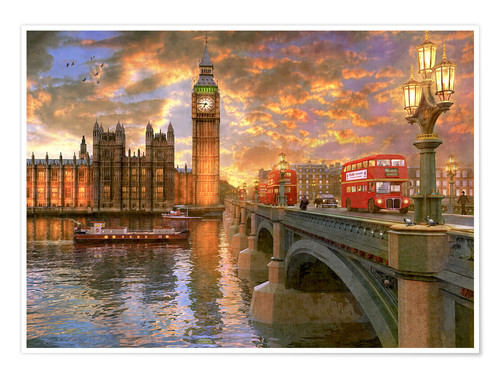 Premium poster Westminster sunset