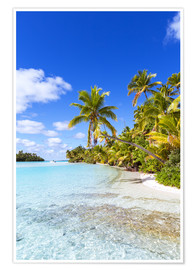 Premium poster Beautiful tropical beach with palms, One Foot Island, Cook Islands, Pacific