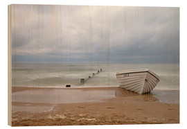 Wood print  fishing boat on the Baltic beach - Simone Splinter