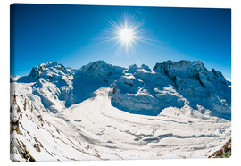 Canvas print  Panorama from Gornergrat with Monte Rosa, Lyskamm, Breitrhorn. Zermatt, Schweiz. - Peter Wey