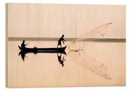 Wood print  Fisherman on the Taungthaman lake - Lee Frost