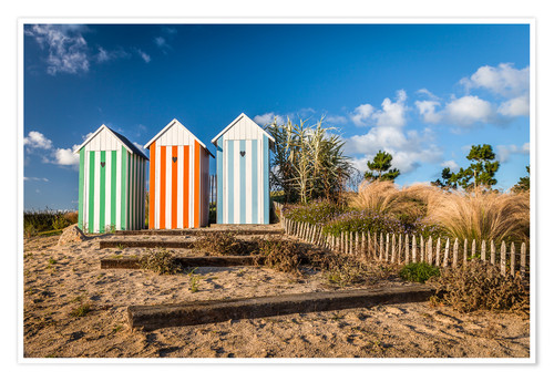 Premium poster Colorful beach huts in Brittany (France)