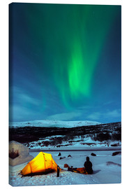 Canvas print  Northern lights and camp - Christian Kober