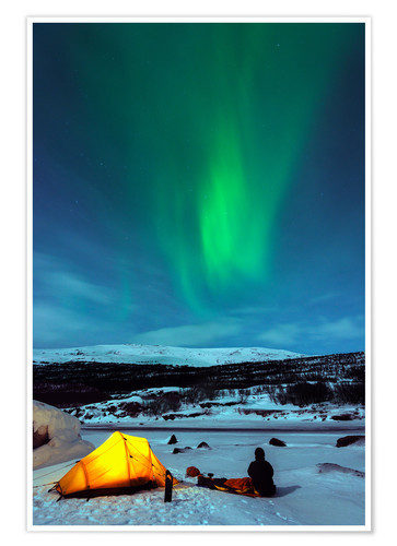 Premium poster Northern lights and camp