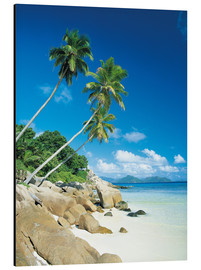 Aluminium print  Anse Severe With Praslin Island in Background, La Digue, Seychelles - Lee Frost