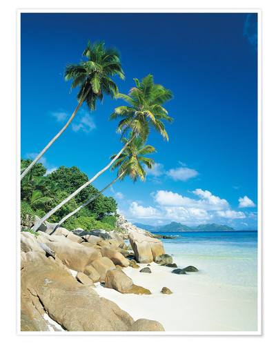 Premium poster Anse Severe With Praslin Island in Background, La Digue, Seychelles