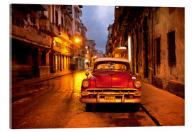 Acrylic glass  Red vintage American car in Havana - Lee Frost