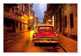 Poster  Red vintage American car in Havana - Lee Frost