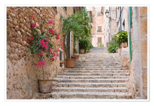 Premium poster Gasse in Fornalutx, Mallorca