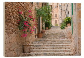 Wood print  Gasse in Fornalutx, Mallorca - Ruth Tomlinson