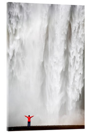 Acrylic glass  Woman in red jacket standing in front of Skogafoss waterfall, South Iceland, Iceland, Polar Regions - Lee Frost