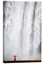 Canvas print  Woman in red jacket standing in front of Skogafoss waterfall, South Iceland, Iceland, Polar Regions - Lee Frost