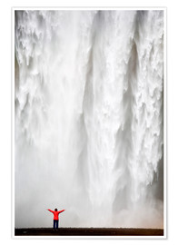 Premium poster  Woman in red jacket standing in front of Skogafoss waterfall, South Iceland, Iceland, Polar Regions - Lee Frost