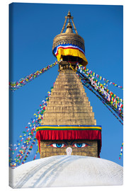 Canvas  Bodhnath Stupa (Boudhanth) (Boudha), one of the holiest Buddhist sites in Kathmandu, UNESCO World He - Lee Frost