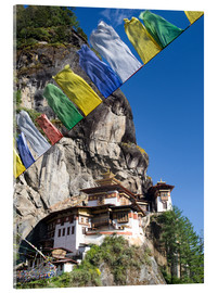 Acrylic glass  Taktshang Goemba (Tiger's Nest Monastery) and prayer flags, Paro Valley, Bhutan, Asia - Lee Frost