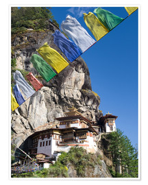 Premium poster  Taktshang Goemba (Tiger's Nest Monastery) and prayer flags, Paro Valley, Bhutan, Asia - Lee Frost