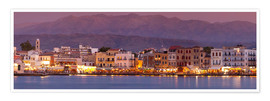 Premium poster Harbor at dusk, Chania, Crete