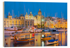 Wood print  Grand Harbour Marina, Vittoriosa (Birgu), The Three Cities, Malta, Mediterranean, Europe - Christian Kober