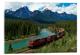 Acrylic glass  Morants bend with railroad and Bow River - Hans-Peter Merten