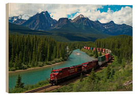 Wood print  Morants bend with railroad and Bow River - Hans-Peter Merten