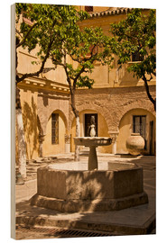 Wood print  Terrace with fountain in Seville - Guy Thouvenin