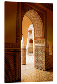 Acrylic print  Large patio columns with azulejos decor, Islamo-Andalucian art, Marrakech Museum, Marrakech, Morocco - Guy Thouvenin