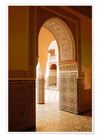 Premium poster  Large patio columns with azulejos decor, Islamo-Andalucian art, Marrakech Museum, Marrakech, Morocco - Guy Thouvenin