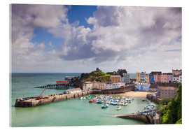 Acrylic print  Tenby Harbour, Pembrokeshire, West Wales, Wales, United Kingdom, Europe - Billy Stock