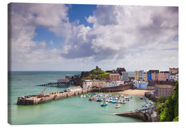 Canvas  Tenby Harbour, Pembrokeshire, West Wales, Wales, United Kingdom, Europe - Billy Stock