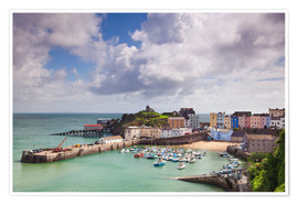 Premium poster  Tenby Harbour, Pembrokeshire, West Wales, Wales, United Kingdom, Europe - Billy Stock