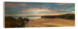 Wood print  Three Cliffs Bay, Gower - Billy Stock