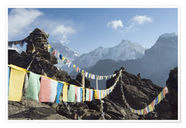 Premium poster  Prayer flags, view from Gokyo Ri - Christian Kober