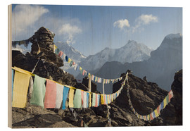 Wood print  Prayer flags, view from Gokyo Ri - Christian Kober