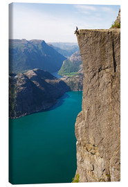 Canvas  Man sitting on Pulpit Rock, Lysefjord - Christian Kober