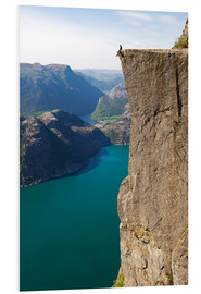 Foam board print  Man sitting on Pulpit Rock, Lysefjord - Christian Kober